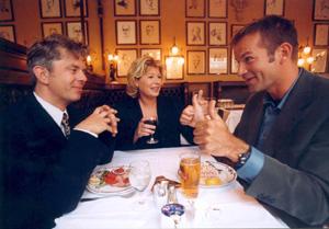 NRKs mest populære trio. Fra venstre Knut Nærum, Anne-Kat. Hærland og Jon Almaas. (Scanpix-foto)