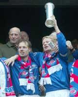 Langt frem til nytt cupgull for Kjetil Rekdal og Tom Henning Hovi.
