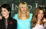 Daniel Radcliffe (Harry), Joanne K. Rowling og Emma Watson (Hermine)
