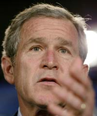 President Bush fotografert i Washington i dag. (Foto: L. Downing, Reuters)