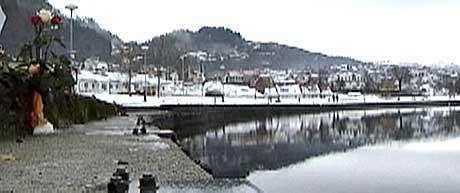 Gang- og sykkelstien som går langs havnebassenget er ikke sikret. Mye tyder derfor på at 20-åringen har sklidd på den isete veien, og falt i sjøen. (Foto: NRK)