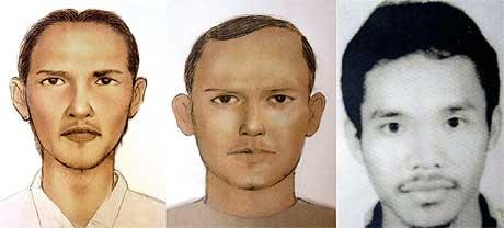 Tre av de mistenkte, fra venstre Umar (også kjent som Patek, Dulmatin (eller Amar Usman) og M. Ali Imron (også kjent som Alik. (Tegninger fra Politiet i Indonesia)