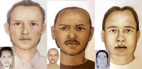Tre av de mistenkte, fra venstre Idris (også kjent som Jhoni Hendrawan, eller Gembrot, Umar (også kjent som Wayan) og Imam Samudra. (Tegninger fra Politiet i Indonesia)