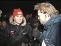 Fullt mediakjør: Storebror Henning Solberg intervjues på direkten av NRKs Arild Andersen(Foto: NRK)