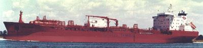 """""""Bow Fagus"""" er bygget i Norge i 1995. Båten er eid og drevet av Odfjell Chemical Tanker AS(Foto:Odfjell)"""
