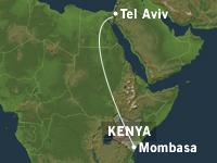 Det israelske flyet unngikk så vidt rakettene, og fløy tilbake til Tel Aviv. (Kart: NRK)