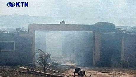 Paradise hotel i Mombasa ble ødelagt av selvmordsbombere torsdag. (Foto: Fjernsynet i Kenya)