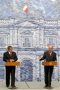 Lula da Silva besøkte tirsdag sin chilenske kollega Ricardo Lagos. (Foto: Reuters)