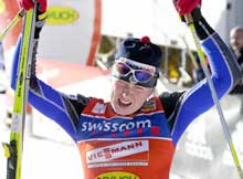 Kristina Smigun trodde hun hadde vunnet da hun gikk i mål. (Foto: Erlend Aas/scanpix)