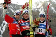 Tre norske kvinner jublet på pallen. (Foto: Erik Johansen/scanpix)