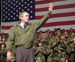 George W. Bush er klar til å angripe Irak, med eller uten FN-støtte. (Arkivfoto)