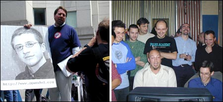 Discrimination. Left: protesters demanding that DVD-Jon is set free. Right: local guys relaxing with a video VHS-Lars copied for them.