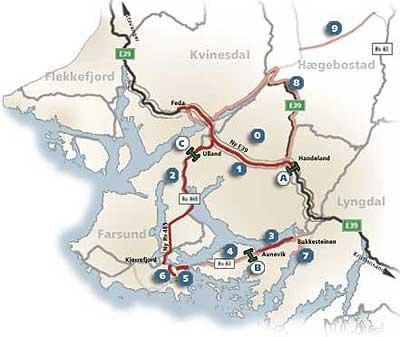 Oversikt over prosjektene i Listerpakken (Statens Vegvesen)