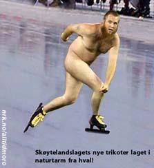 Skøytelandslagets nye naturtarm-trikoter.