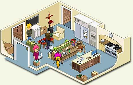 Slik ser det ut på kjøkkenet til Ozzy Osbourne og familien i Osbournes-spillet. Illustrasjonsgrafikk: mtv.co.uk.