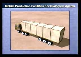 Ett av bevisene USA la frem i dag skal vise et flyttbart laboratorium for fremstilling av biologiske våpen.