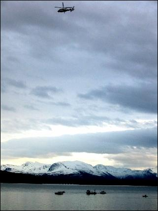 Fra søket etter flystyrten i Molde 9.februar 2003. Foto: Gunnar Sandvik