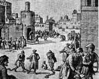 Lenkede slaver på gaten i Algier