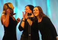 Jannicke Larsen, Inger Lise Størksen og Christine Sandtorv vant Spellemannprisen for beste popgruppe. Nå får de uttelling for nesten 10 år med hardt arbeid. Foto : Morten Holm / Scanpix.