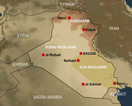 Kart Irak med naboland
