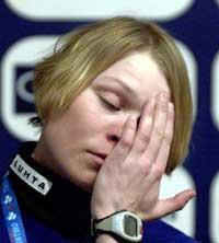 Kaisa Varis bedyret sin uskyld på en pressekonferanse under VM på ski. (Foto: Anders Wiklund/Scanpix)