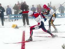 Ola Morten Græsli slo tyske Georg Hettich med en meter i spurten. (Foto: Bjørn Sigurdsøn/Reuters)