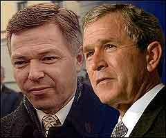 Det var Bush som ringte Bondevik. Illustrasjon NRK Grafikk