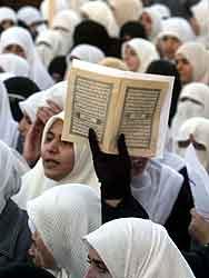 Kvinner i Amman demonstrerer mot USA lørdag. Foto: Ali Jarekji , Reuters