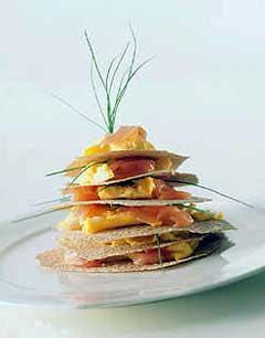 Tips: Legg flatbrød, biter av omelett, røkelaks, rømme og gressløk så høyt du våger. Foto: Alf Börjesson