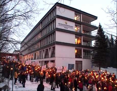 Fra en tidligere demonstrasjon rundt Hålogalandssykehuset i Narvik.