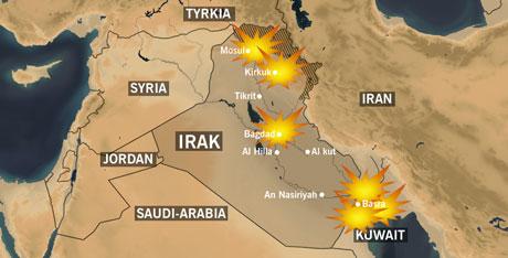 Angrepene mot Irak 21. mars. NRK-grafikk