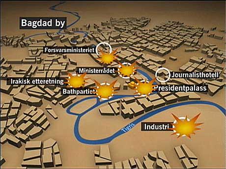 Bombingen av Bagdad 21.mars 2003. NRK-grafikk