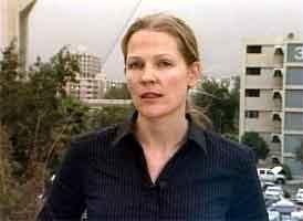 Åsne Seierstad i Bagdad i ettermiddag. Foto: NRK