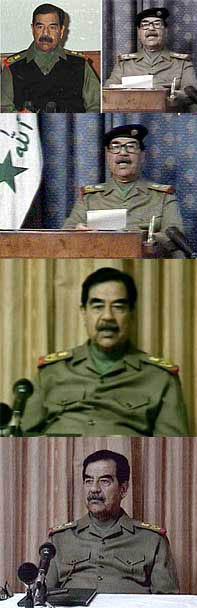 Saddam Hussein i ulike utgaver. Er det samme mannen? (Foto: Reuters)