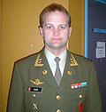 Oberstløyntnant Gjermund Eide, ved Forsvarets Stabsskole var lunsjgjest i dag. Foto: NRK.