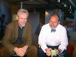 Jan Helge Solbakk, professor i medisinsk etikk og Per Fugelli, professor i sosialmedisin. Foto: NRK.
