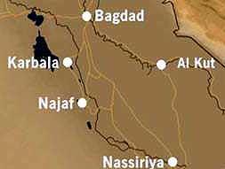 Byer som yter motstand på veien mot Bagdad. NRK Grafikk