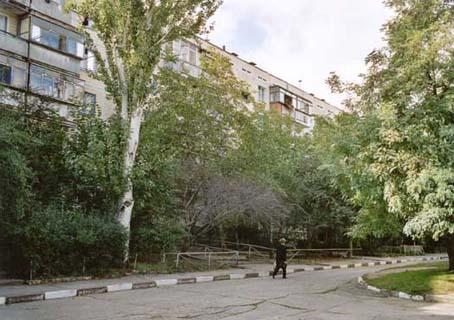 Blokka i Nikopol hvor Galina bor sammen med moren Valentina og datteren Margarita.