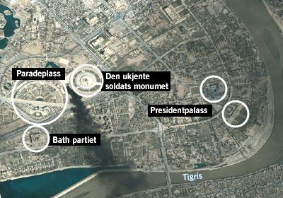 Satellitt-bilete av sentrum av Bagdad. (Foto: