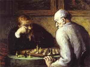 Portrett av sjakkspillere, Honoré Daumier.
