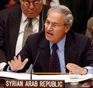 Syrias utenriksminister Farouq al-Shara under en tale i Sikkerhetsrådet 7. mars. (Foto: Getty Images)