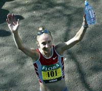Ingen VM-jubel for Paula Radcliffe.