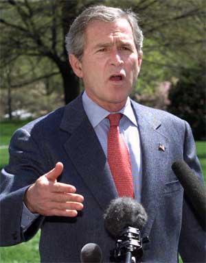 USA-president George W. Bush har snakket med Abu Mazen i dag. (Arkivfoto)
