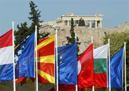 EU-toppmøtet skjer på historisk grunn ved foten av Akropolis. (Reuters-foto)