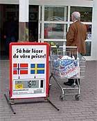 Kjøpesenteret på Nordby er en av Sveriges aller største på dagligvarer. Foto: Rainer Prang, NRK