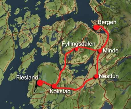 Hvor NSB ser for seg at flytoget vil gå. Hovedalternativet går via Nesttun, det andre via Fyllingsdalen.