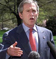 President George W. Bush er fornøyd med at Saddams Husseins to sønner i går ble funnet. (Arkivfoto)