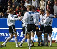 Rosenborg-spillerne kunne juble for at de nå har tatt 15 av 15 mulige poeng denne sesongen. (Foto: Alf Ove Hansen/Scanpix)
