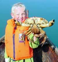Isak fekk ein stor krabbe i garnet