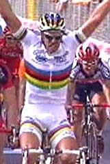 Mario Cipollini satte en historisk rekord med 42 etappeseirer i Giro, men får ikke sykle i Tour de France.